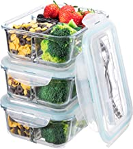 Glass Meal Prep Containers 3 Compartment – Bento Box Glass Lunch Containers –..