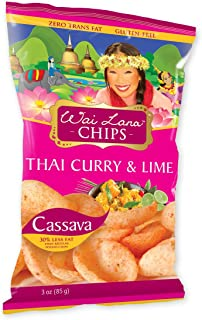 Thai Curry & Lime Cassava Chips | Gluten-Free, Vegan, 3 oz (Pack of 6) (Wai Lana)
