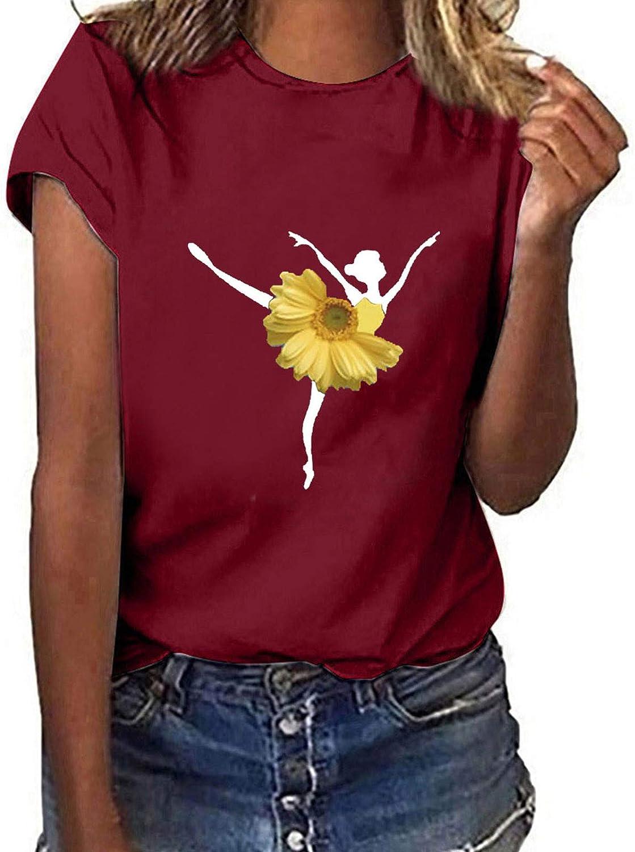 FABIURT T Shirts for Women Fashion Flower Print Short Sleeve Round Neck Tee Shirt Summer Casual Loose Blouse Tunic Tops