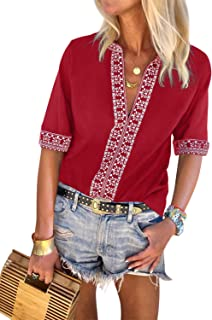 Womens Casual V Neck Shirt Boho Embroidered Print Short/Long Sleeve Tops Loose Blouse (S-XXL)