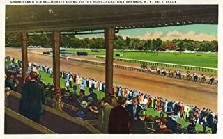 Saratoga Springs, New York - Horses Going to the Post at Race Track (12x18 Art Print, Wall Decor Travel Poster)
