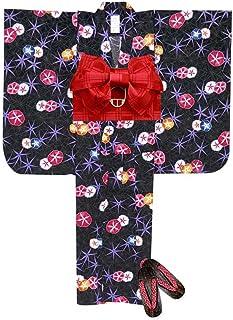 浴衣 こども 女の子 浴衣 セット 紅型風 子供浴衣 作り帯 下駄 3点セット 選べるサイズ(100 150)「黒 朝顔」BIN-GK-set