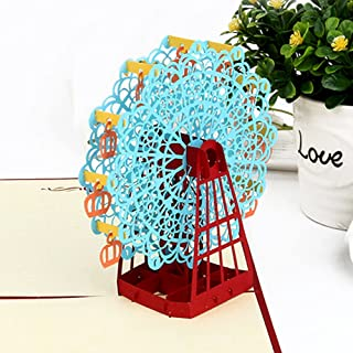 COLOLIVE Ferris Wheel Pop Up Mother's Day Card Perfect for Birthday Greeting and Thank You Card for Wedding Holidays and Anniversary (Blue)