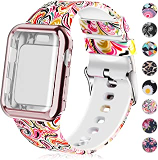 Compatible for Apple Watch Band 44mm Women with Screen Protector Case, Soft Silicone Sport Wristband for Apple Watch iwatch Series 5 4 (44mm,Painting)