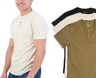 3 Pack:Mens Casual Short Sleeve Cotton Henley T-Shirt