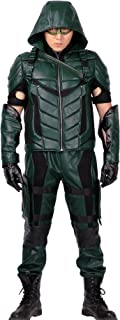 Mens Deluxe S4 Arrow Cosplay Costume PU Leather Full Suit Adult 2016