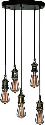 Warehouse of Tiffany LD4056 Tanya 5-Light Adjustable Cord Edison Lamp with Bulbs Chandelier, Black