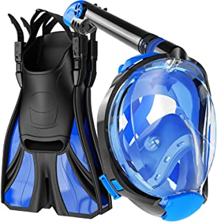 COZIA DESIGN Snorkel Set Adult - Full Face Snorkel Mask and Adjustable Swim Fins, 180° Panoramic View Scuba Mask, Anti Fog...