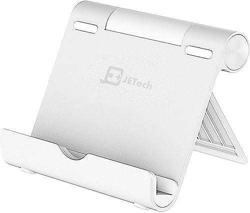 JETech Soporte Tablet y Celular, Multi-Angulo, Portátil Durable Aluminio, Soporte de Móvil y Tableta, Plata
