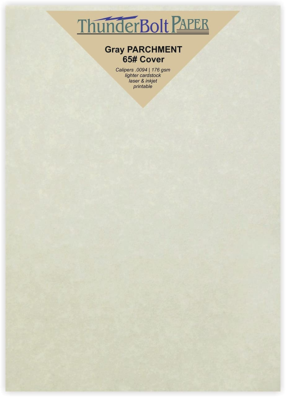 100 Gray Parchment 65lb Cover Weight Paper - 5