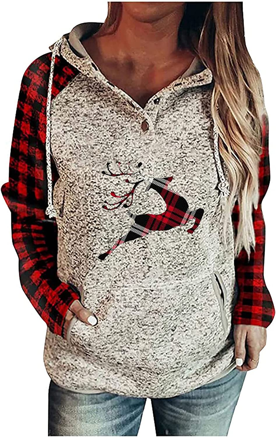 Oversized Sweaters for Women - Christmas Plaid Splicing Elk Print Hoodie Long Sleeve Comfortable Pullover Buttons Sweatshirt Red