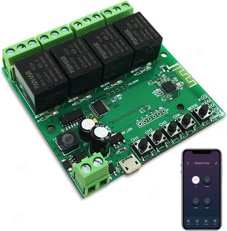 Newgoal Módulo de relé de interruptor inteligente WiFi de 4 canales, la aplicación TUYA/Smart Life se utiliza para el control remoto del hogar inteligente, el tiempo instantáneo es ajustable