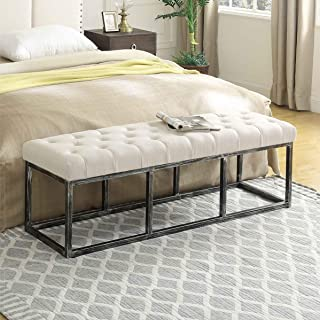 24KF Upholstered Tufted Long Bench with Metal Frame Leg, Ottoman Bench with Padded Seat-Ivory