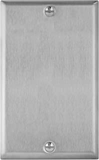 "ENERLITES Blank Device Metal Wall Plate, Corrosion Resistant, Size 1-Gang 4.50"" x 2.76"", UL Listed, 7701, 430 Stainless Steel, Silver"