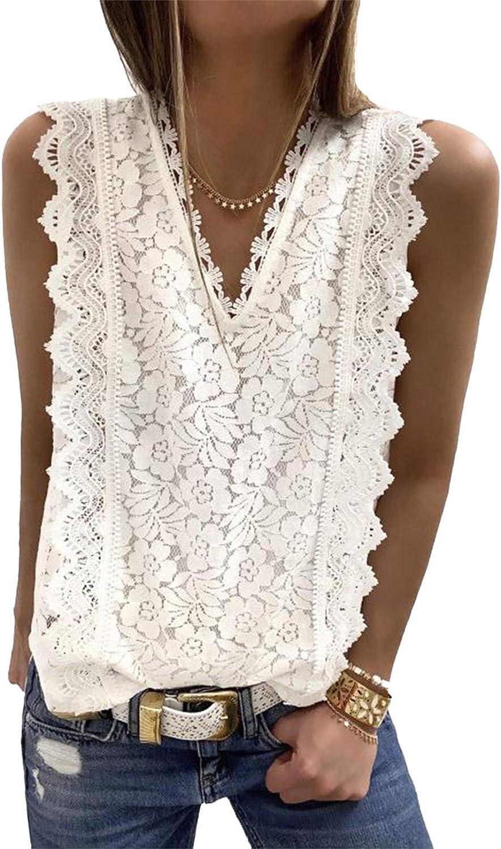 Womens V Neck Tank Tops Lace Crochet Sleeveless Tunic Shirt Summer Cami Blouses Petite