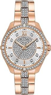 Bulova Women's Quartz Watch with Stainless-Steel Strap, Rose Gold, 16 (Model: 98L229)