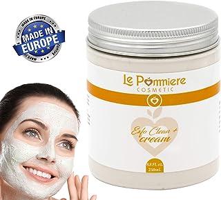 Mascarilla exfoliante facial 250ml con ácido hialurónico. Arcilla blanca natural purificante para piel grasa o mixta. Homb...