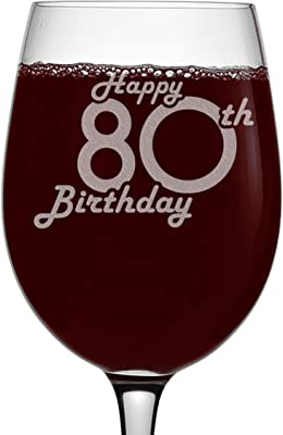 Etched 16oz Stemmed Wine Glass - Happy 80th Birthday - 80 Years Old Gifts