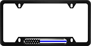 USA Patriotic Anodized Aluminum Thin Top   Narrow Top Car License Plate Frame with US American Flag  Thin Blue Line Insert with Free caps - Black