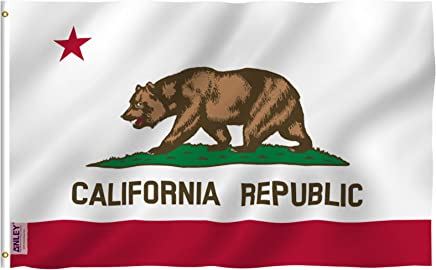 Anley Fly Breeze 3x5 Feet California State Flag - Vivid Color and UV Fade Resistant - Canvas Header and Double Stitched - Calif. CA Flags Polyester with Brass Grommets 3 X 5 Ft