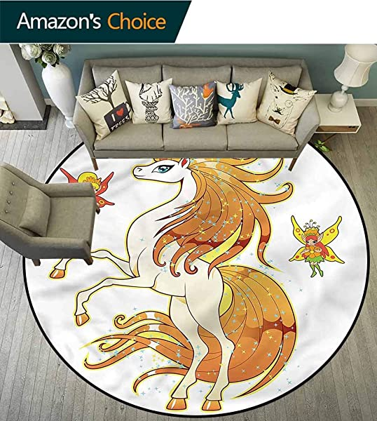 RUGSMAT Unicorn Dining Room Home Bedroom Carpet Floor Mat Unicorn And Fairy Art Floor Mat Home Decor Round 31