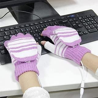 SGJFZD Outdoor Sport Electric Heated Half-Finger & Full-Finger Knitted Gloves for Women Thermal Gloves