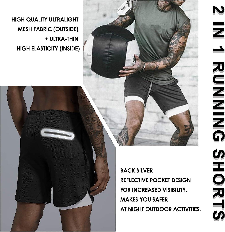 Leidowei Mens 2 in 1 Workout Running Shorts Lightweight Training Yoga Gym 7 Short with Zipper Pockets