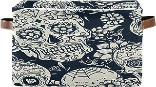 Tropicallife F17 Panier de rangement ethnique en tissu avec poignée Motif tête de mort et fleurs