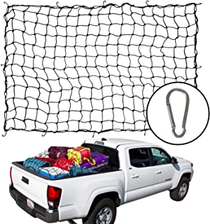 Houseables Bungee Net, Truck Bed Cover, 5mm Thick, 4' x 6', Elastic, Mesh Spider Netting, Heavy Duty, Pickup Accessories, Storage Organizer Tarp, for Car Trunk, Trailer, Pick Up, Roof Rack with Hooks