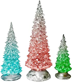 BANBERRY DESIGNS Table Top Christmas Trees - Set of 3 - LED Lighted Acrylic Christmas Trees Holiday Decoration Set of 3 Assorted Sizes 10