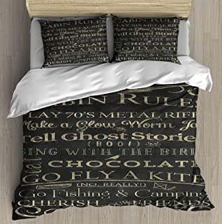 Duvet Cover Set Cabin Rules II Bedding Set Microfiber Comforter Cover with Zipper Closure, Bed Quilt Cover Pillow case for Girls Boys, 68