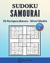 SUDOKU Samurai - 50 Rompecabezas -  En nivel Medio: Para Adultos Letra Grande Con Soluciones - Juego De Lógica - Medio