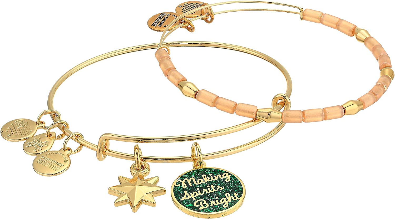Alex and Ani Words are Powerful, Making Spirits Bright Set of 2 Bangle Bracelet