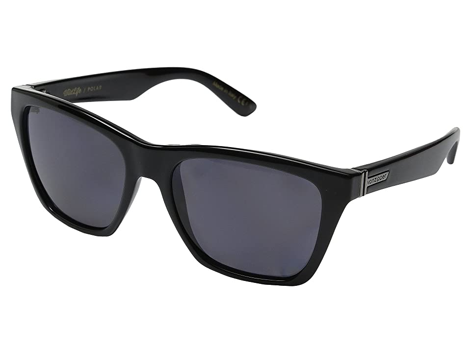4ad222e575 VonZipper Booker Polarized (Black Gloss Vintage Grey Wildlife) Sport  Sunglasses