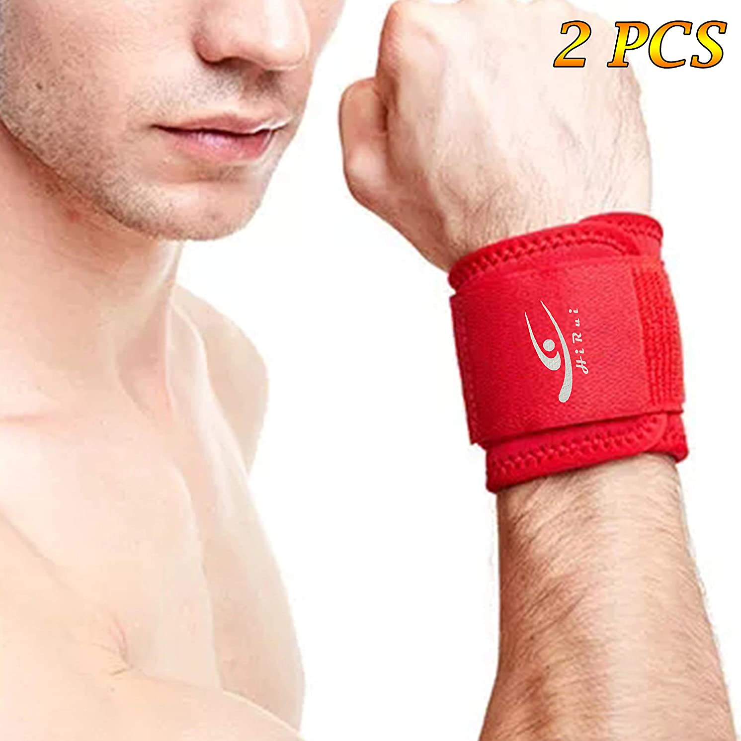HiRui [2 Pack] Wrist Compression Strap and Wrist Brace Sport Wrist Support for Fitness, Weightlifting, Tendonitis, Carpal Tunnel Arthritis, Wrist Pain Relief-Wear Anywhere-Unisex,Adjustable