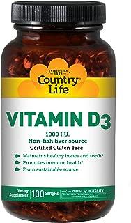 Country Life - Vitamin D3, Non-Fish 1000 IU - 100 Softgels
