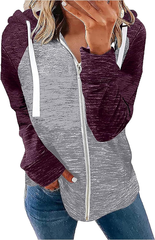 ANJUNIE Women's Hoodie Jacket Sweatshirt Zipper Long Sleeve Coat Casual Top Active Cardigan