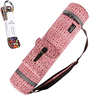 (Type 1) - Anleobag Yoga Mat Bag + Yoga Strap Set, Heavy Duty Cotton Full Zipper Closing Yoga Mat Carry Bag with Inside an...