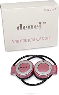 Denej Pink Mini On Ear Bluetooth Wireless Headphones Gift Set - 20 Hr On-Ear Cordless Headset Set for Gym,Running,Workout, Leisure with Built-in Microphone and Crisp HD Audio – with Bonus Pouch.