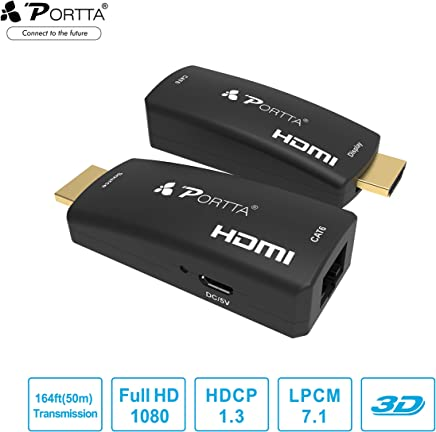 Portta HDMI Extender by Single Cat5e/6 (60M) with IR Support Full HD 1080p