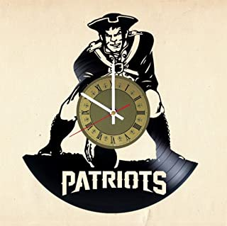 New England Patriots Vinyl Wall Clock Football Great Gift for Men, Women, Kids, Girls and Boys, Birthday, Christmas Beautiful Home Decor - Unique Design That Made Out of Vinyl LP Record