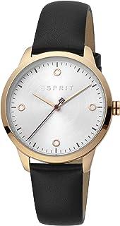ساعة مينيمال بتصميم بسيط للنساء من اسبريت مع عرض انالوج ومينا باللون الفضي وسوار جلدي - طراز ES1L164L0025