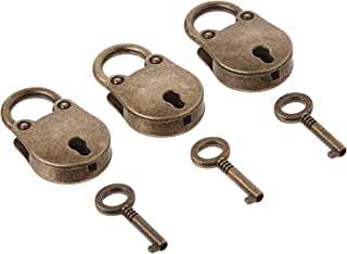 kathson Old Vintage Antique Style Mini Archaize Padlocks Key Lock with Key (Lot of 3,Antique,Love)) (Antique Style)