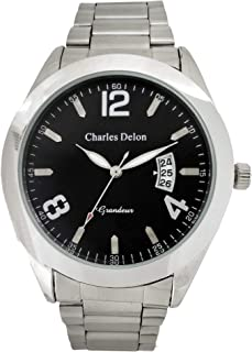 Charles Delon Mens Quartz Watch, Analog Display and Stainless Steel Strap 5471 GPBS