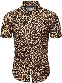 Tiitstoy Men's Fashion Leopard Print Slim Tee Shirts Short Sleeve Tops Blouse