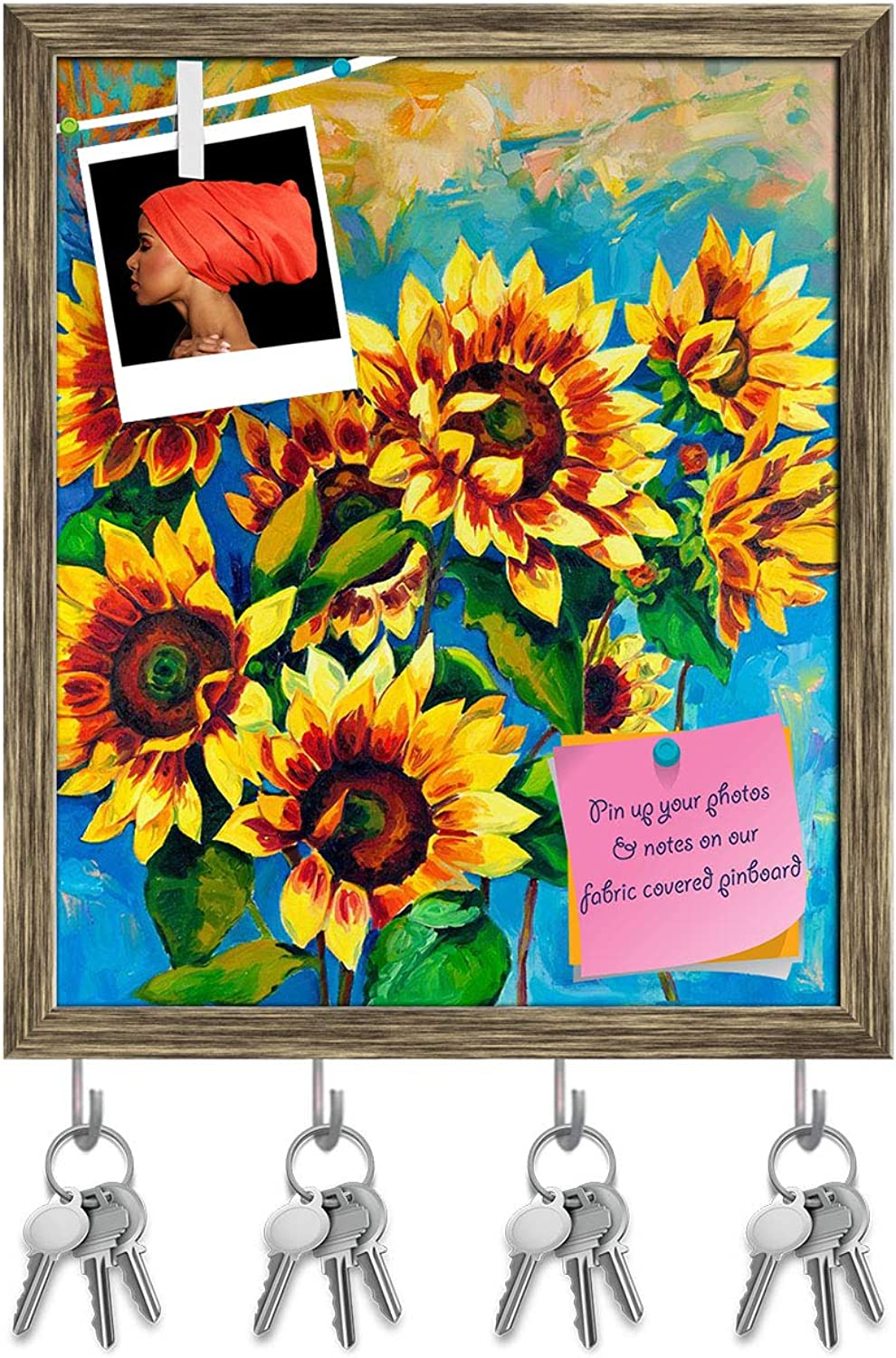 Artzfolio Sunflowers D3 Key Holder Hooks   Notice Pin Board   Antique golden Frame 16 X 19.2Inch