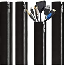 EVEO Cable Management Sleeve - 4 Cable Sleeve Cord Organizers - PC Cable Management Solution with Cable Organizer - Wires Sleeve Black Cord Management Cable Concealer