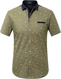 SSLR Men`s Printed Button Down Casual Short Sleeve Cotton Shirts