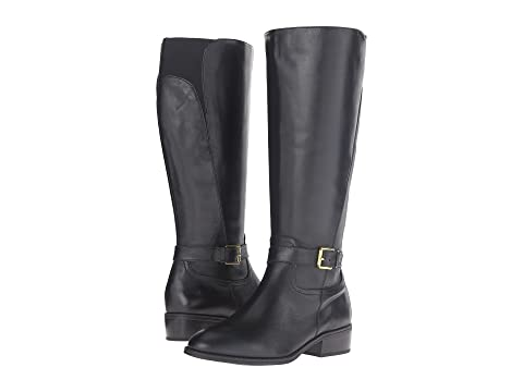 High quality Women s Boots Women LAUREN Ralph Lauren Makenzie Wide Calf Black Burnished CalfElegant in style