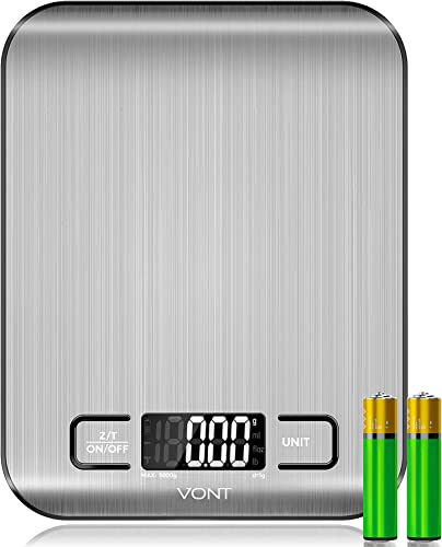 high quality Vont high quality 'Milo' Kitchen Scale, Food Scale, Digital Scale w. Beautiful LCD Screen, 5 Measurement Units, Gram Scale Used for Weight Loss, Baking, Cooking, 304 Food new arrival Grade Stainless Steel (Batteries Included) outlet sale